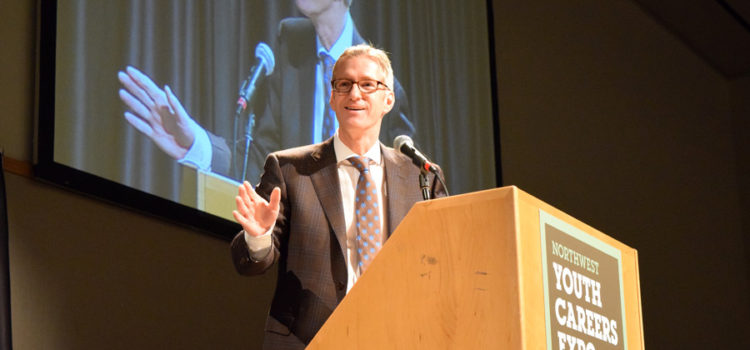 Expo 2017: Mayor Ted Wheeler, Nike's Tinker Hatfield encourage students at PWA Breakfast