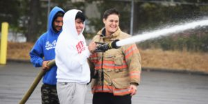 High school students at Portland Fire and Rescue